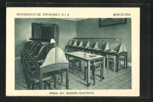 AK Barcelona, Regimiento de Zapadores No. 4, Hogar del Soldado, Escritorio