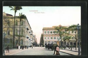 AK Alexandrie, Vue dans la Rue Cherif Pacha