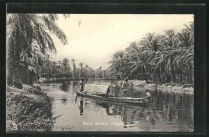 AK Basra, Kora Greek, Men in a Boat on a RIver
