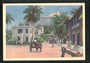 Künstler-AK Colon, Ortsansicht mit Palmen und Pferdekutschen