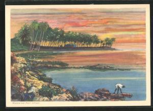 Künstler-AK Port Limon, Parie an der Küste mit Fischer