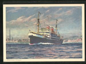 Künstler-AK Willemstad, Passagierschiff an der Küste