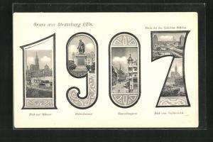 AK Strassburg, Blick auf Münster, Kleber-Denkmal in der Jahreszahl 1907