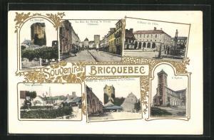 AK Bricquebec, L'Hotel de Ville, L'Eglise, Vue générale