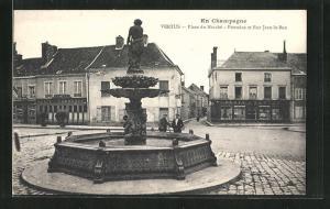 AK Vertus, Place du Marché - Fontaine et Rue Jean-le-Bon