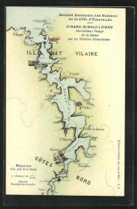 AK Dinard, Landkarte mit St-Malo, St-Jouan und St-Hubert
