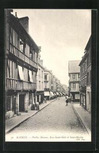 AK Bayeux, Vieilles Maisons, Rues Saint-Malo et Saint-Martin, Strassenpartien