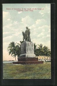 AK Panama Canal, Statue of Columbus at the mouth of the Canal at Cristobal