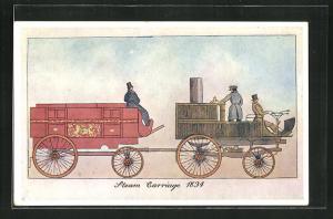 Künstler-AK englische Eisenbahn Steam Carriage 1834 mit Waggon