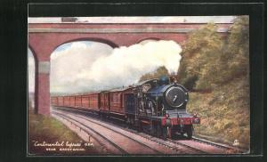 Künstler-AK englische Eisenbahn Continental Express der Gesellschaft G.E.R. eine Brücke passierend