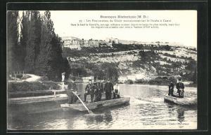 AK Besancon, Les Pontonniers du Génie manoeuvrant sur le Doubs à Canot
