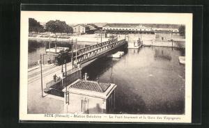 AK Sète, Le Pont tournant et la Gare des Voyageurs