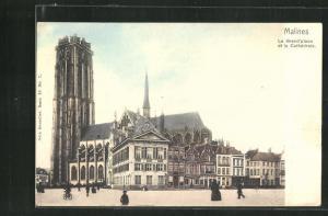 AK Malines, La Grand place et la Cathedrale