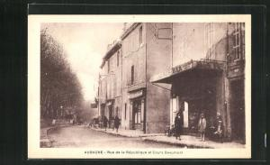 AK Aubagne, Rue de la Republique et Cours Beaumont