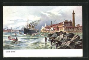 AK Port-Said, Dampfer im Hafen