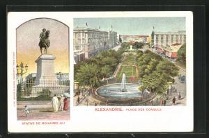 Künstler-AK Alexandrie, Place des Consuls, Statue de Mohamed Ali