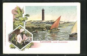 Künstler-AK Alexandrie, Phare d'Alexandrie