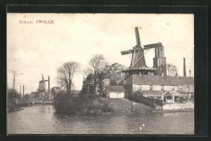 AK Zwolle, Eekwal, Ortsansicht mit Mühle