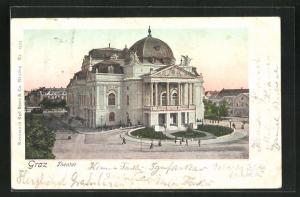 Künstler-AK Graz, Blick auf das Theater
