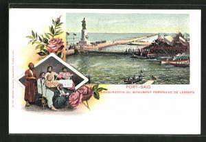 Künstler-AK Port-Said, inauguration du Monument Ferdinand de Lesseps