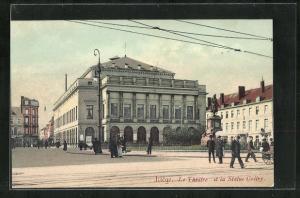 Künstler-AK Liege, Le Theatre et la Statue Gretry