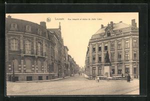 AK Louvain, Rue Leopold et statue de Juste Lipse