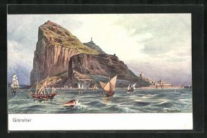 Künstler-AK Gibraltar, Segelboote vor der Küste