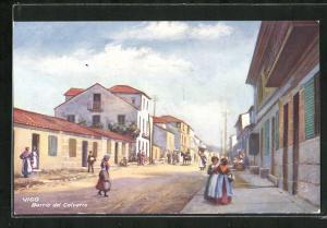 Künstler-AK Vigo, Barrio del Calvario