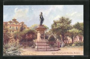 Künstler-AK Vigo, Estatua de Mendez Nunez