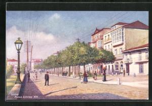 Künstler-AK Vigo, Paseo Alfonso XIII.