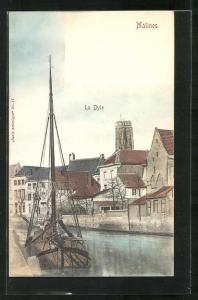AK Malines, La Dyle, Partie am Fluss
