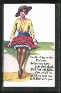 Künstler-AK sign.Stocker Shaw: junge Dame im Kleid mit Hut