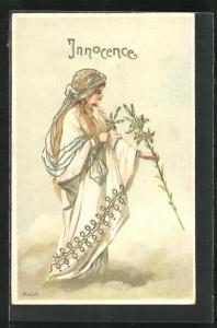 AK Allegorie, Innocence, Frau mit Blütenzweig