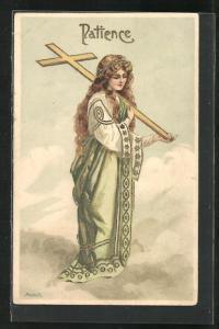 AK Allegorie, Patience, junge Dame mit Kreuz