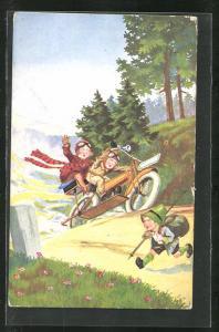 AK Paar auf einem Motorrad