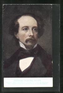 AK Schriftsteller Charles Dickens, Halbportrait