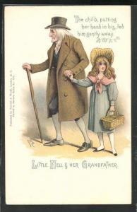 Künstler-AK Charakter aus Charles Dickens Werken, Little Nell & her Grandfather