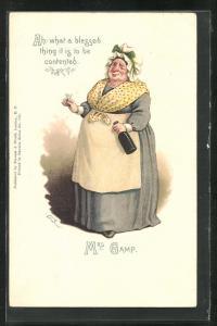 Künstler-AK Charakter aus Charles Dickens Werken, Mrs. Gamp