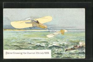 AK Bleriot crossing the Channel 25th July 1909 in his Aeroplane