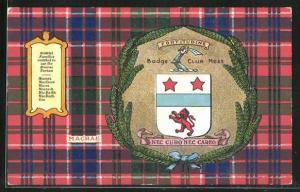 AK Wappen Badge Club Moss Nec Curo Nec Careo, Clanfarben Macrae