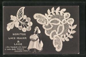 AK Honiton Lake Maker & Lace, Mrs. Woodgate mit Korb, Stickerei
