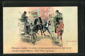 Künstler-AK London, Hansom Cabbie, Herr wird fast von einer Pferdekutsche angefahren