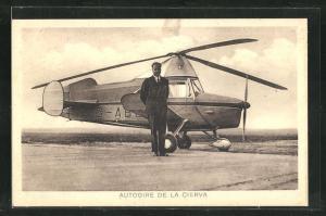 AK Autogire de la Cierva, Moteur Armstrong Siddley steht vor dem Hubschrauber Gentet