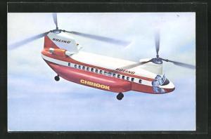 Künstler-AK The Boeing Vertol Commercial Chinook, Hubschrauber im Flug