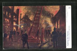 AK Fighting the Flames, A Great Fire in the City, Feuerwehrmänner löschen einen Brand
