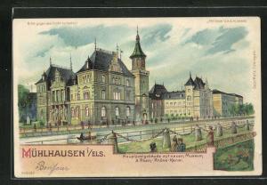 Lithographie Mühlhausen i. Els., Hauptpostgebäude mit neuem Museum, Halt gegen das Licht: Vollmond