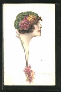 Künstler-AK Tito Corbella: Schöne junge Frau mit rosengeschmückter Haube