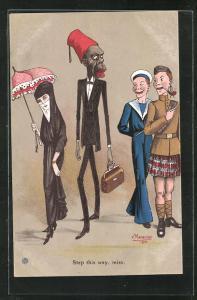 Künstler-AK sign. V. Manavian: Step this way, miss, Englische Soldaten und ein Afrikaner buhlen um eine Araberin