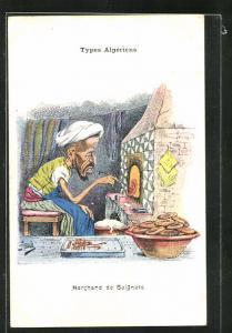 Künstler-AK sign. Assus: Marchand de Beignets, arabischer Backwarenhändler