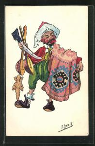 Künstler-AK sign. E. Herzig: Articles indigènes, Arabischer Händler bietet seine Waren feil